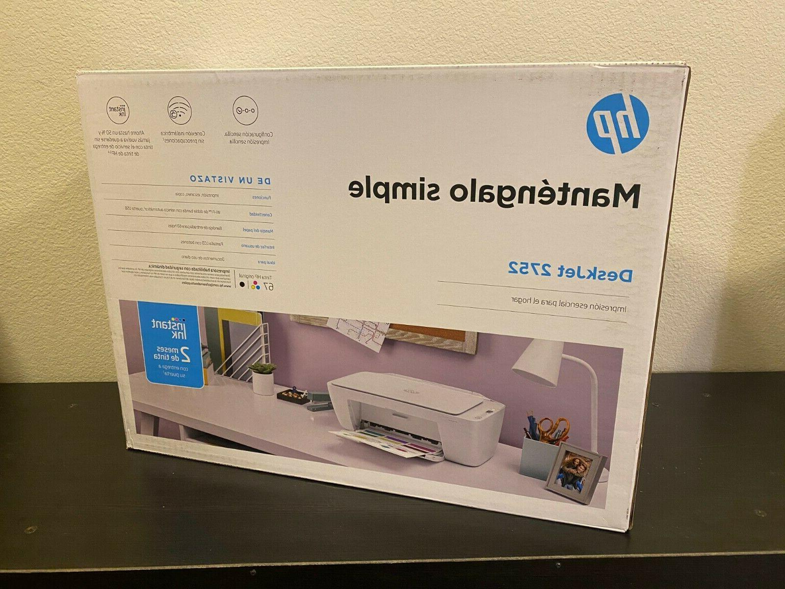 New HP DeskJet 2752 Wireless All-in-One Color Printer Instant Ready