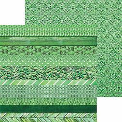 Paper House EMERALD-EDGINGS 12x12 Dbl-Sided PCS Printed Card